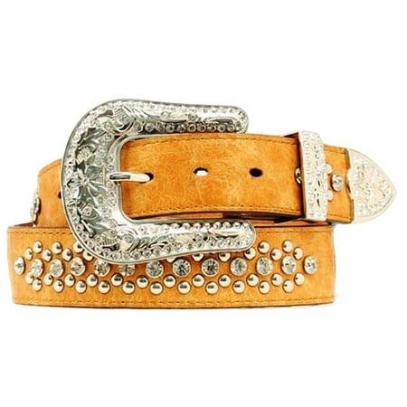 Nocona Western Belt Womens Leather Heart Wings Bling Tan N3490608
