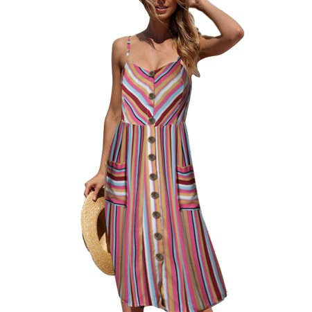 DYMADE Women's Summer Spaghetti Strap Decor Button Pocketed Bohemian Midi Dress