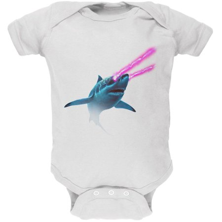 Galaxy Shark Great White Laser Beams Soft Baby One Piece (White Laser Beam)
