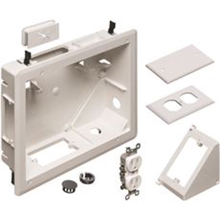 Arlington 4-Gang Recessed Tv Box For Power And Low Voltage, White, 8 X 10 In. Datacomm Recessed Media Box