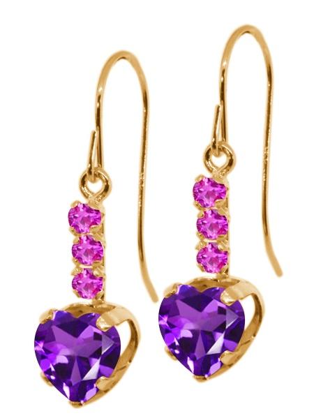1.78 Ct Heart Shape Purple Amethyst Pink Sapphire 14K Yellow Gold Earrings by