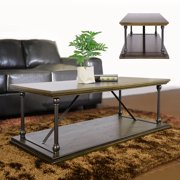 HOMYCASA 120 Antique Style Bronze Finish Coffee Table 2 Tier MDF ADJUSTMENT SHACKLES