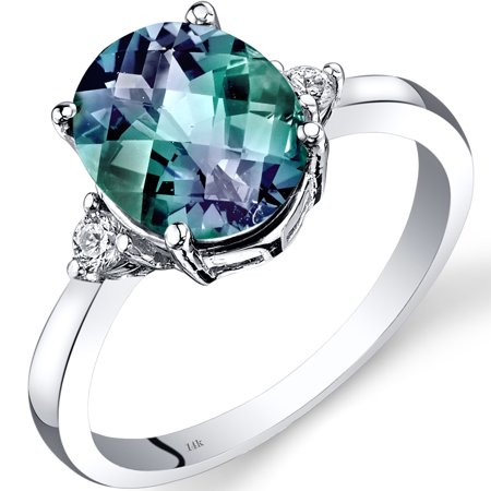 3 Carat T.G.W. Oval-Cut Created Alexandrite and Diamond Accent 14kt White Gold Ring Size 7](Purple On Mood Ring)