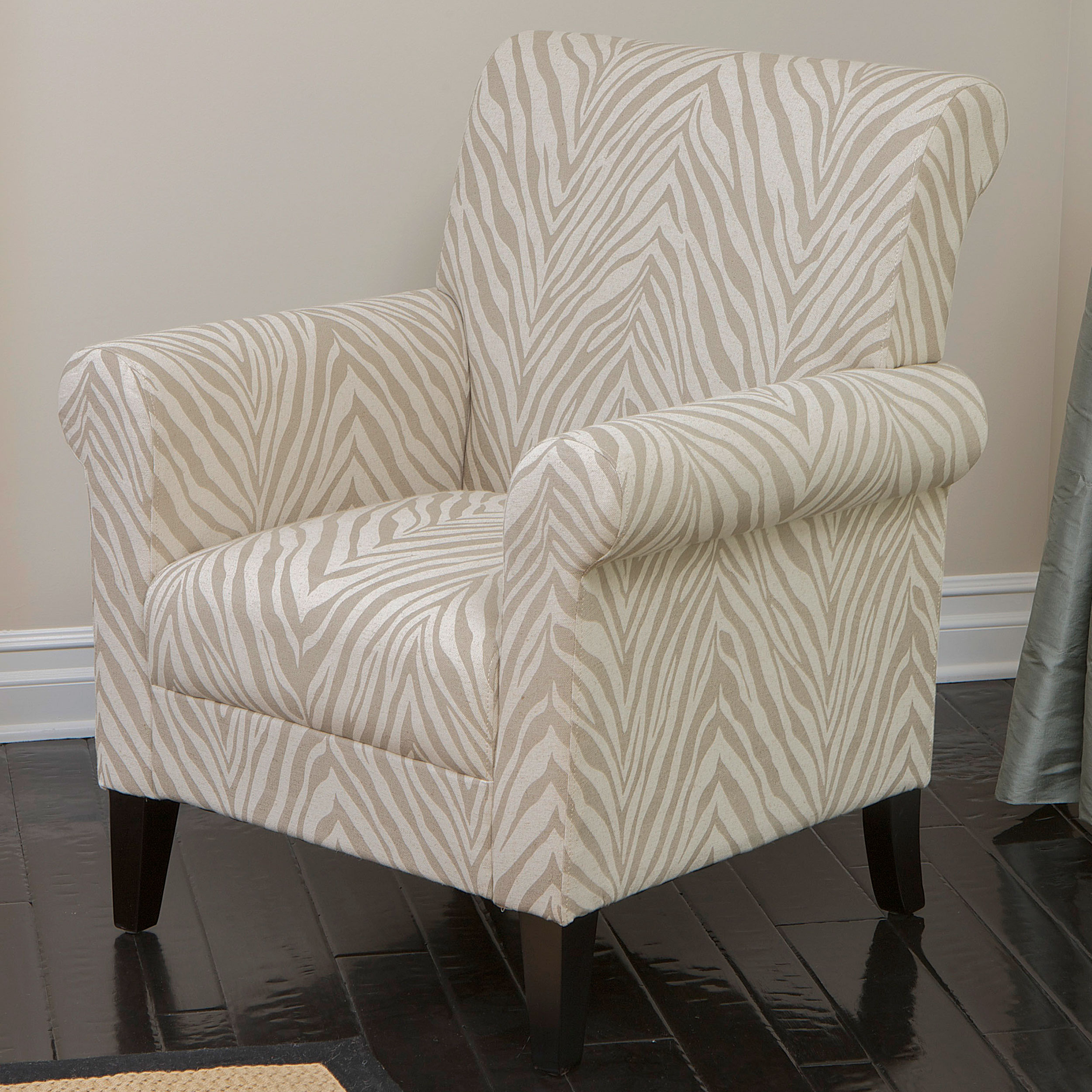 Raiden Beige Zebra Fabric Club Chair by GDF Studio