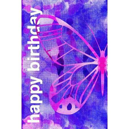 happy birthday: 6x9 inches (15.24 cm x 22.86 cm) lined blank journal: batik fabric butterfly: best friend birthday gift