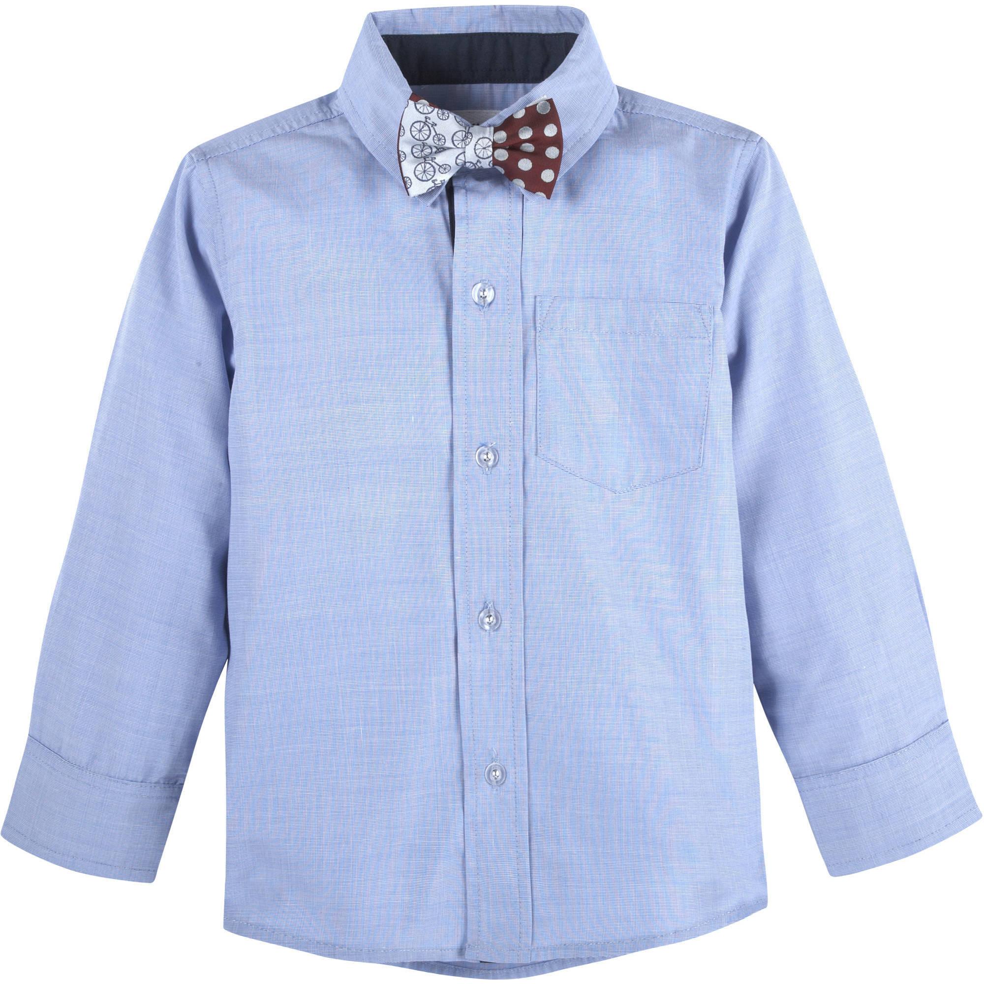 G-Cutee Baby Toddler Boy Woven Shirt w/ Polka Dot Bowtie Set