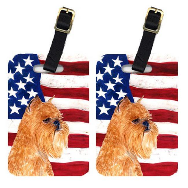Carolines Treasures SS4020BT Pair Of USA American Flag With Brussels Griffon Luggage Tags - image 1 de 1