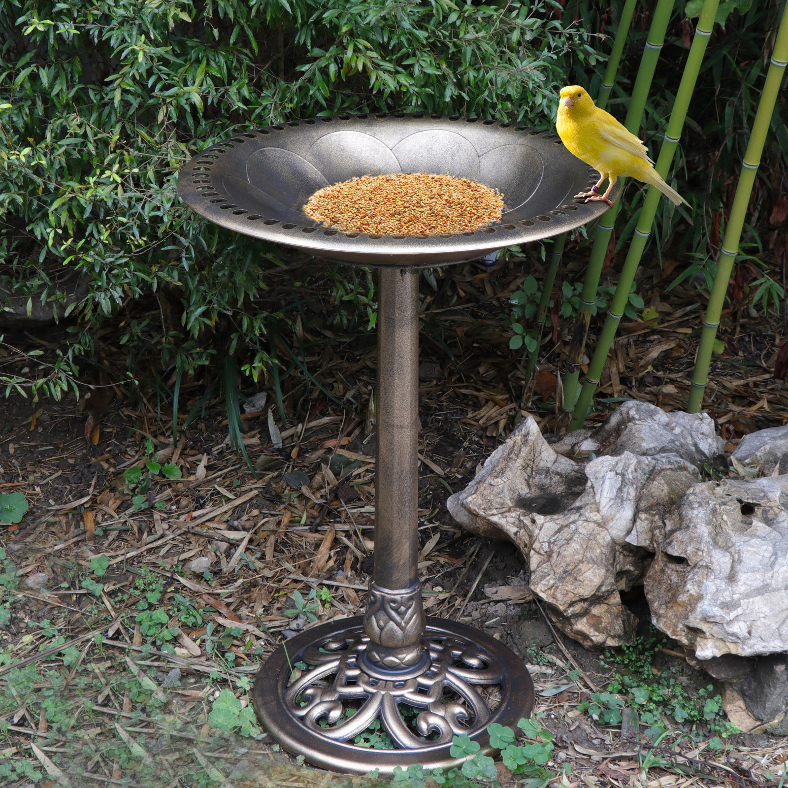 "Zeny Birdbath 28"" Height Pedestal Birdbath Outdoor Garden Decor Vintage Yard Art by"