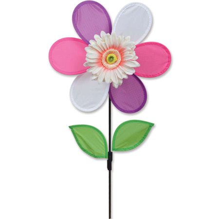 Premier Kite Triple Spinner - Premier Flower Spinner - Pink Daisy,  Colorful Garden Yard Outdoor Decor, 12 inches