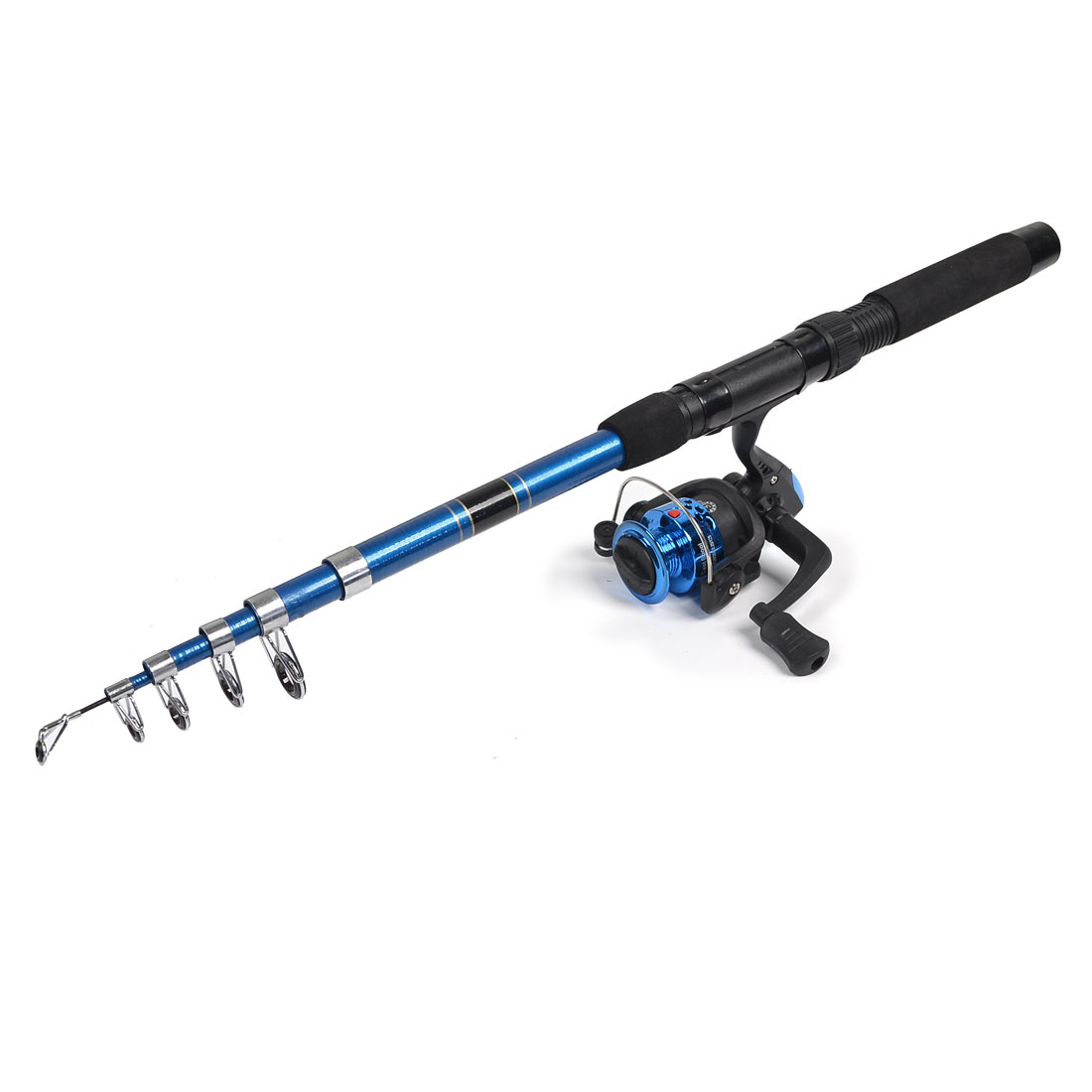 Foam Coated Handle Blue Telescopic Fishing Rod 2M 6.56Ft w 5.2:1 Spinning Reel by