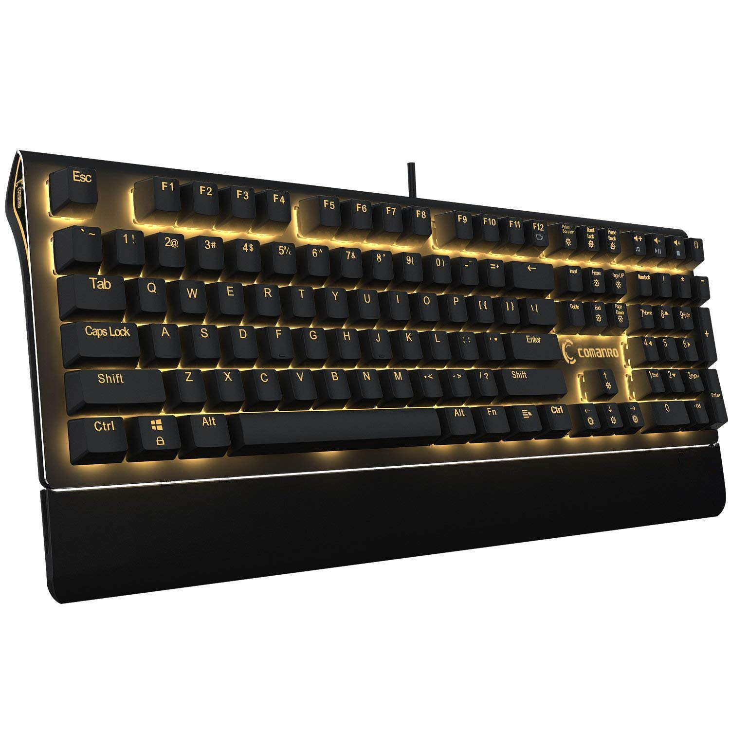 C comanro 108-Key Mechanical Keyboard, LED Golden Backlit with Side Lights, Floating Design with Blue Switch, Anti-ghosting USB Wired Gaming Keyboard - Black