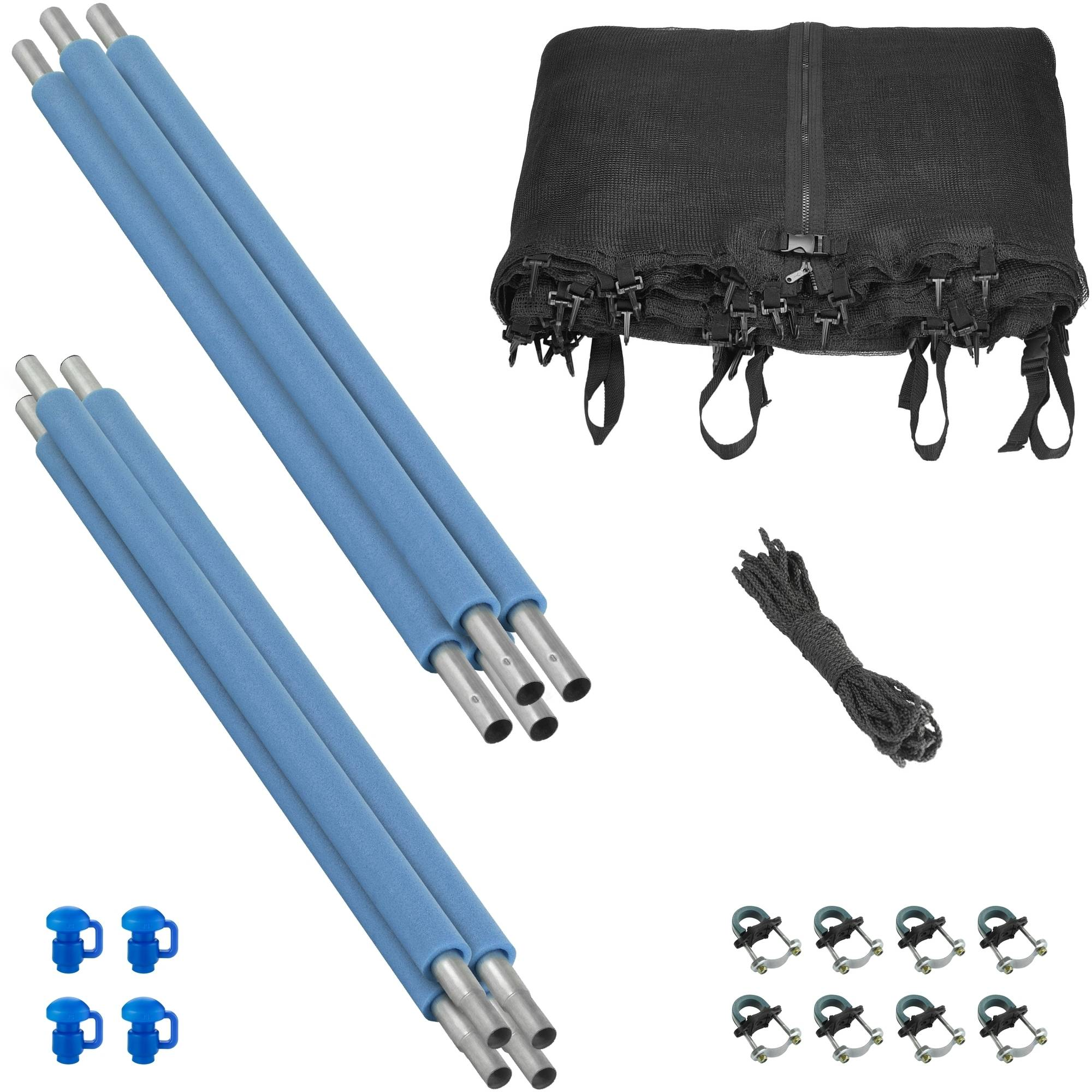 Trampoline Enclosure Set, to fit 14 FT. Round Frames, for 2 or 4 W-Shaped Legs -Set Includes: Net, Poles & Hardware Only