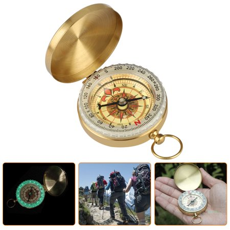 Pocket Compass Outdoor Compass Antique Hiking Hunting Camping Survival Compass Gloss in Dark Metal Compass Tool