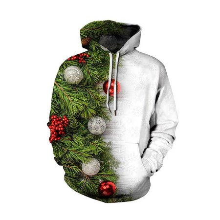 8c91844e287f VSNOW - Unisex Realistic 3D Digital Print Ugly Christmas Pullover Hoodie  Sweatshirt - Walmart.com