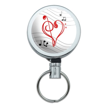 Clef Key - Treble Bass Clef Heart Music Red Retractable Belt Clip Badge Key Holder