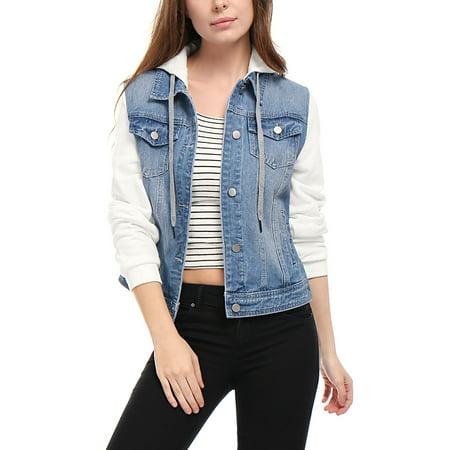 Women's Layered Long Sleeves Hooded Denim Jacket w Pockets Coat Outerwear Sky Blue M (US 10)