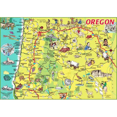 Laminated Poster Oregon State Picture Map City Highway Poster Print 24 x 36 - Party City Eugene Oregon