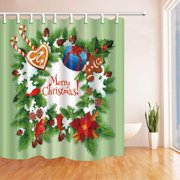 WOPOP Christmas Day Festive Xmas Wreath Pine Tree with Holly Berry and Gift to Kids Polyester Fabric Bathroom Shower Curtain 66x72 inches