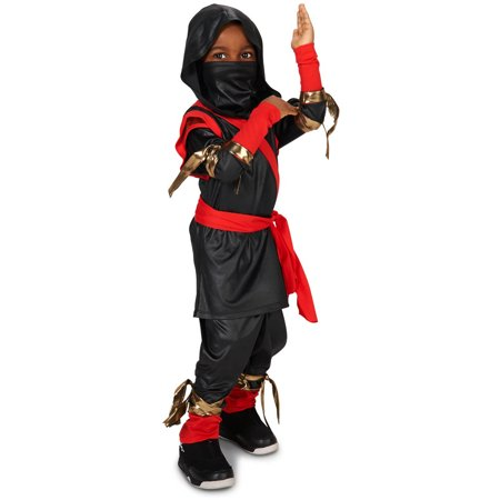 Tough Black and Red Ninja Toddler Halloween Costume, Size 3T-4T (Black And Red Costumes)