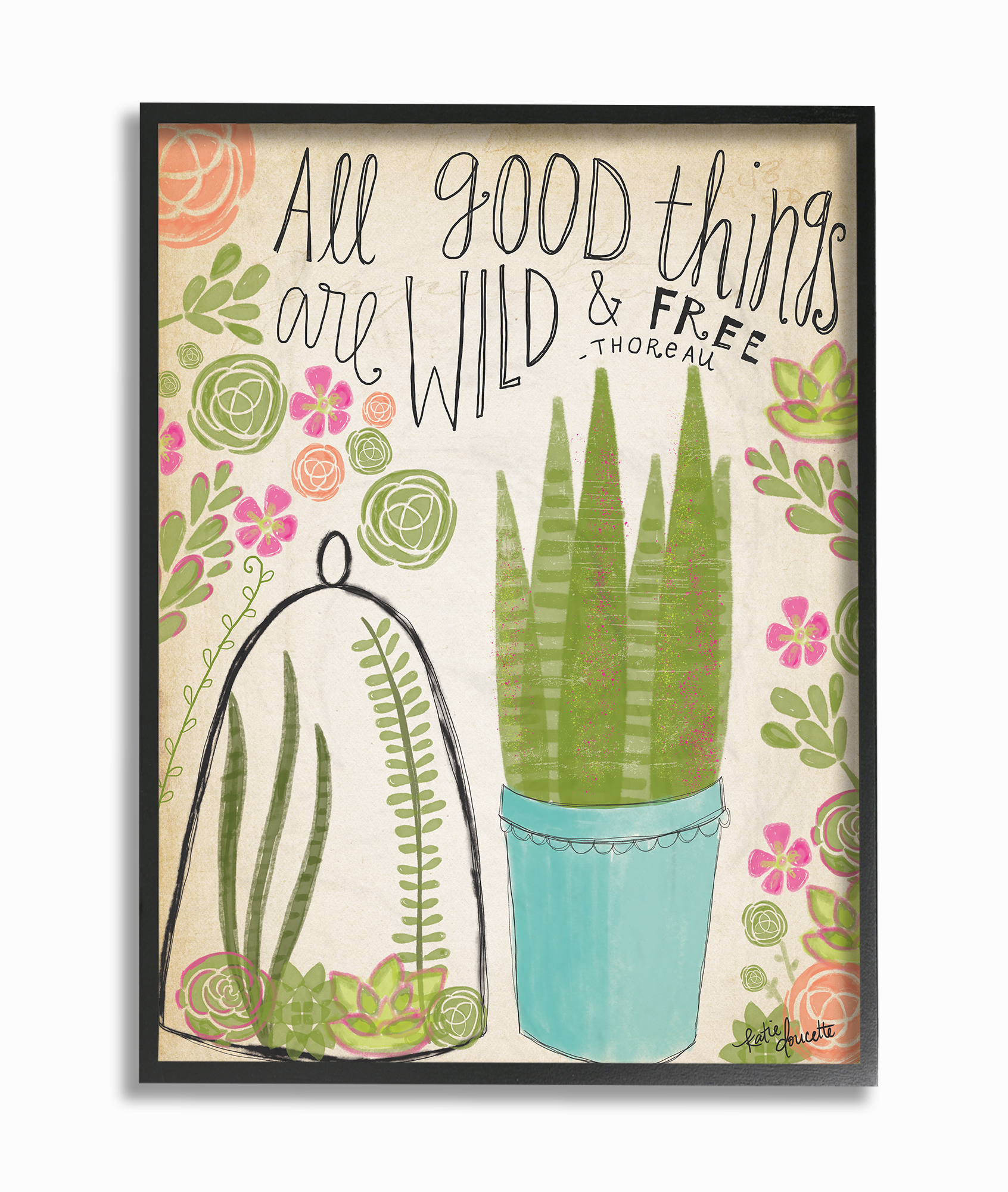 The Stupell Home Decor Collection Good Things Are Wild and Free Houseplants Framed Giclee... by Stupell Industries