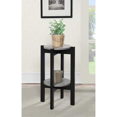 Newport Medium Plant Stand, Faux Cement/Black, 23 inches tall By Convenience Concepts from USA ()