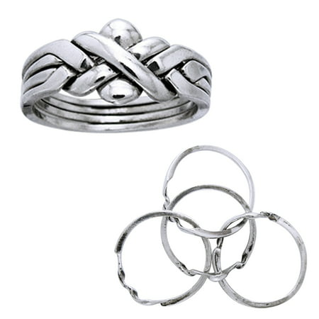 Sterling Silver Puzzle Ring - Sterling Silver Four Band X Weave Puzzle Ring