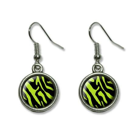 Zebra Print Black Lime Green Dangling Drop (Lime Green Earrings)