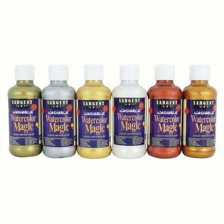 Sargent Art® Watercolor Magic® Paint, 6 Metallic Colors, 8 oz bottles](Metallic Watercolor)