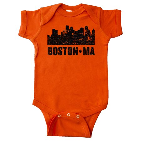 Boston Massachusetts City Skyline with Grunge Infant Creeper