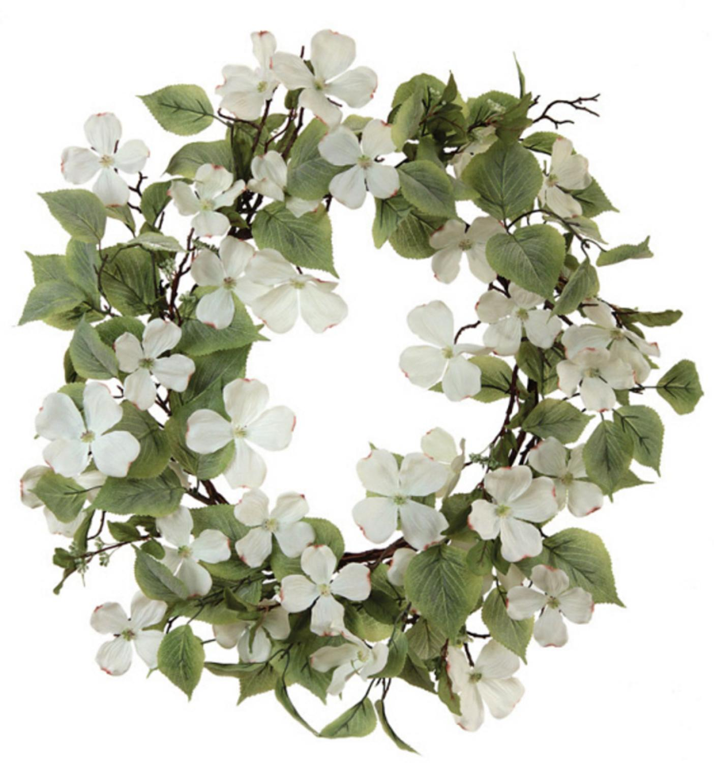 Pack of 2 Artificial White Cream Dogwood Flower and Green Leaf Wreaths 26""