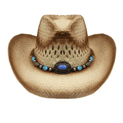 Tea Stain Straw COWBOY HAT w/ Turquoise Blue Beads WOMEN WESTERN Cowgirl