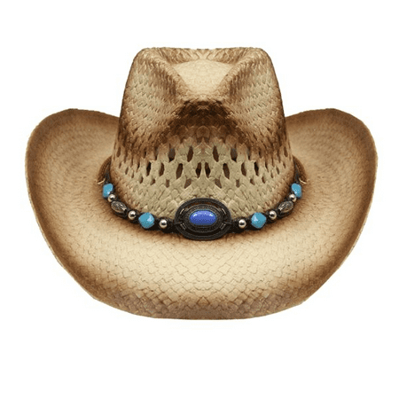 Tea Stain Straw COWBOY HAT w/ Turquoise Blue Beads WOMEN WESTERN Cowgirl for $<!---->
