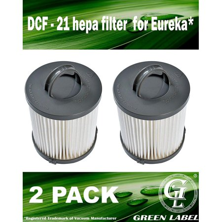 2 Pack for Eureka DCF-21 HEPA Vacuum Filter for all Eureka and Sanitaire Air Speed Bagless Upright Vacuum Cleaners. Compares to: 67821, 68931, 68931A, EF91, EF-91, EF-91B. Genuine Green Label product