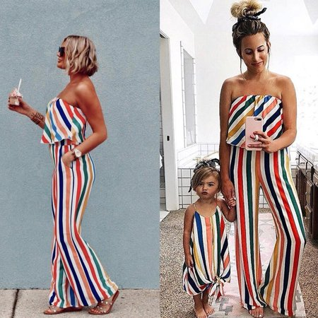 Family Matching Women Girls Mother and Daughter Striped Dresses Outfits Clothes](Outfits Womens)