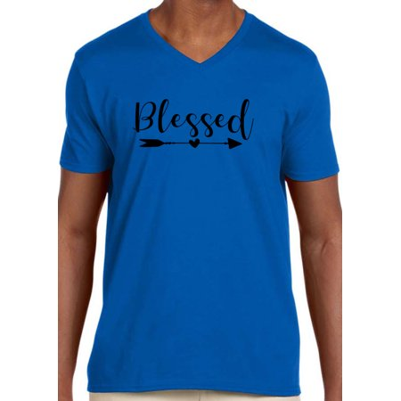 Mens Adizero Feather (Trendy USA 1254 - Men's V-Neck T-Shirt Blessed Feathered Arrow Inspiration 2XL Royal Blue)