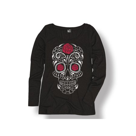 Rose Sugar Skull Skeleton Halloween Floral Scary Cute Fashion-Ladies L/S Tee - Skelton Top