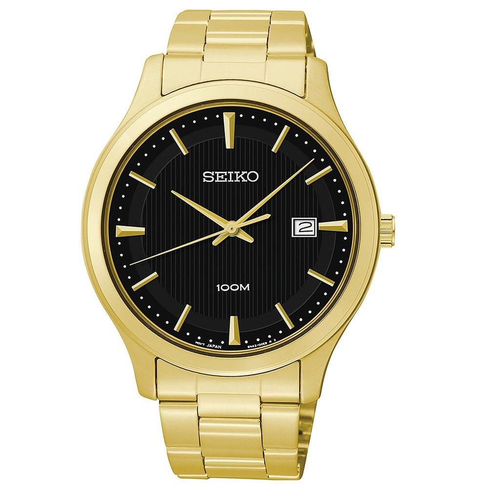 Seiko SUR088 Men's Black Dial Yellow Gold Steel Bracelet ...