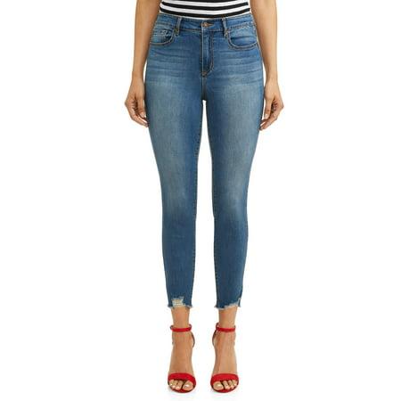 - Rosa Curvy Ripped Hem High Waist Ankle Jean Women's (Medium Wash)