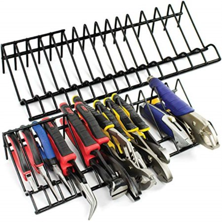 plier organizer rack for tool box storage and organization holder stores a variety of spring loaded, regular, wide handle insulated pliers fits nicely in toolbox drawer or chest drawers (2)
