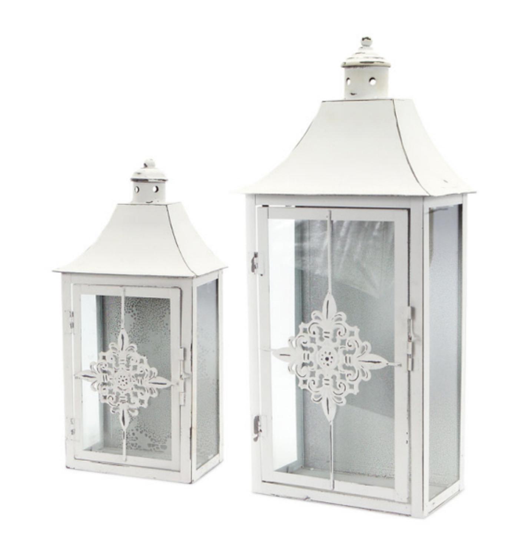 """Set of 2 Vintage Rose White Distressed Pillar Candle Lanterns 19.5"""""""