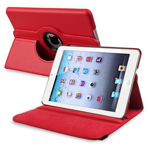 Accesorio Para Tablet iPad Mini 3 / 2 / 1 caso por Insten roja giratoria Multi ángulo vista soporte funda de cuero para Apple iPad Mini Gen 1 º 2 º 3 º + Insten en Veo y Compro