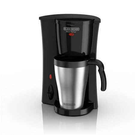BLACK+DECKER Brew 'n Go Personal Coffeemaker with Travel Mug, Black/Stainless Steel, (Black And Decker One Cup Coffee Maker)