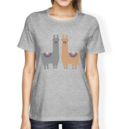 Llama Pattern Womens Grey Crewneck Cute Christmas Tee For - Christmas Llama