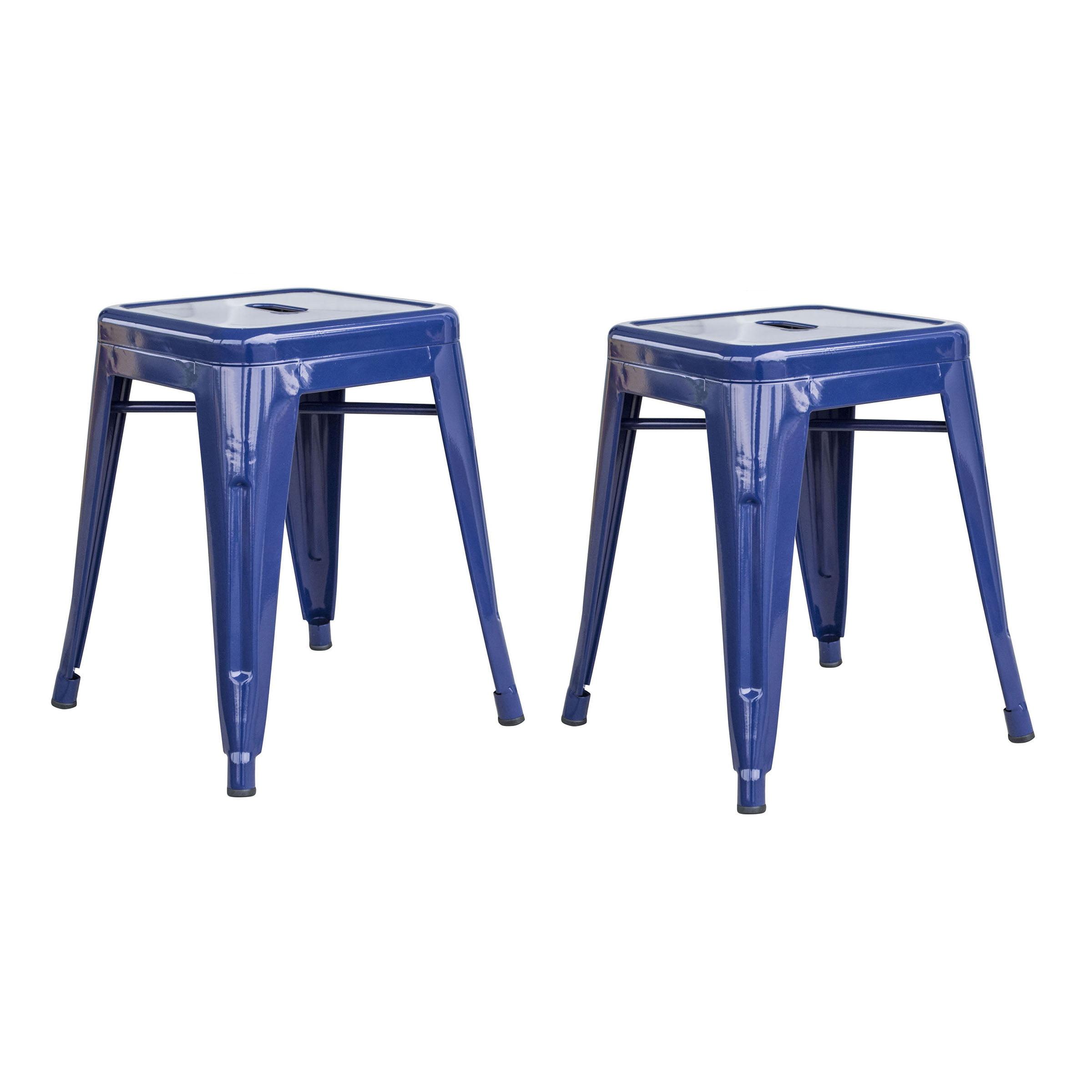 Amerihome Loft Blue 18 Inch Metal Bar Stool 2 Piece