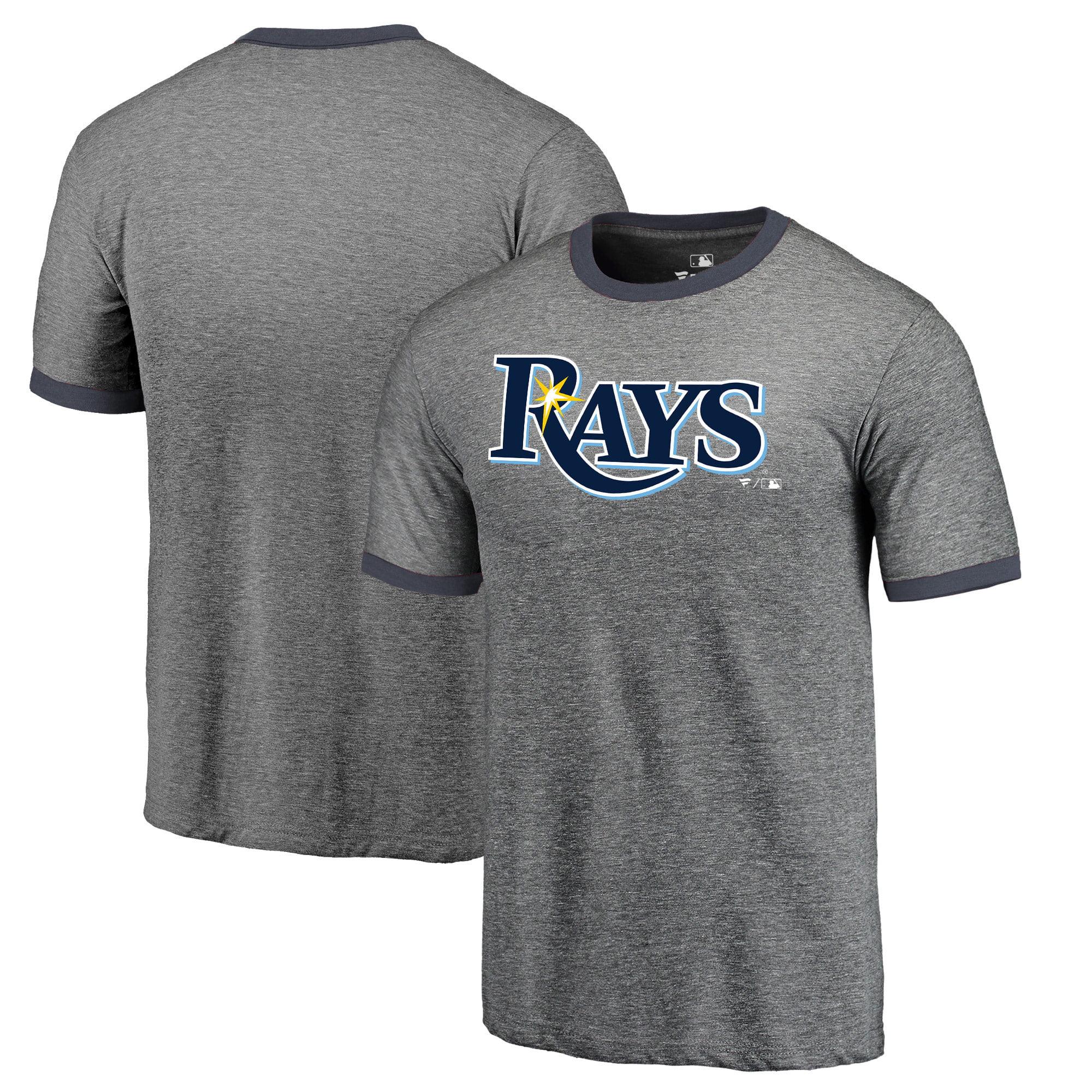 Tampa Bay Rays Fanatics Branded Refresh Ringer Team Wordmark T-Shirt - Heathered Gray