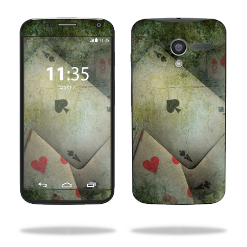 Mightyskins Protective Skin Decal Cover for Motorola Moto X (1st Gen 2013) wrap sticker skins Aces