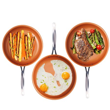 "Gotham Steel 3 Piece Fry Pan Set - 9.5"", 11"" & 12.5"" with Ultra Nonstick Ceramic Copper Coating, Dishwasher, Metal Utensil & Oven Safe"