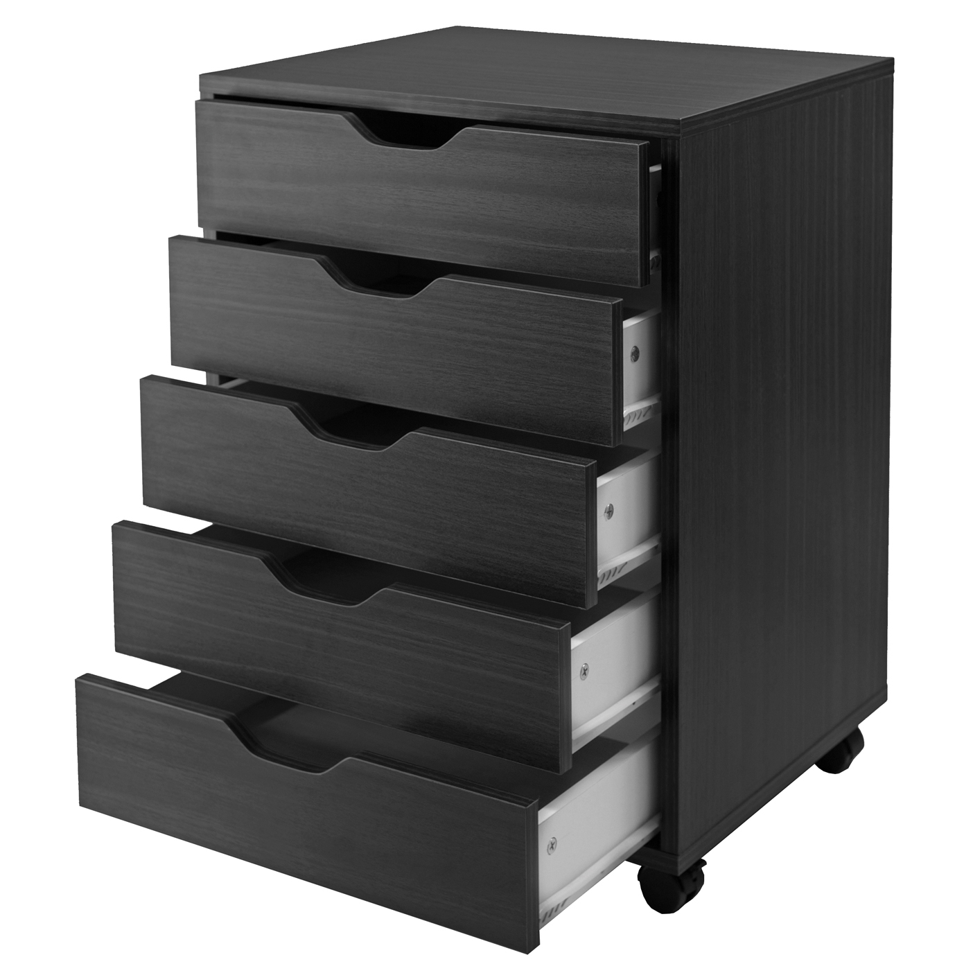 Halifax 5-Drawer Vertcal Wood File Cabinet With Casters, Multiple Finishes