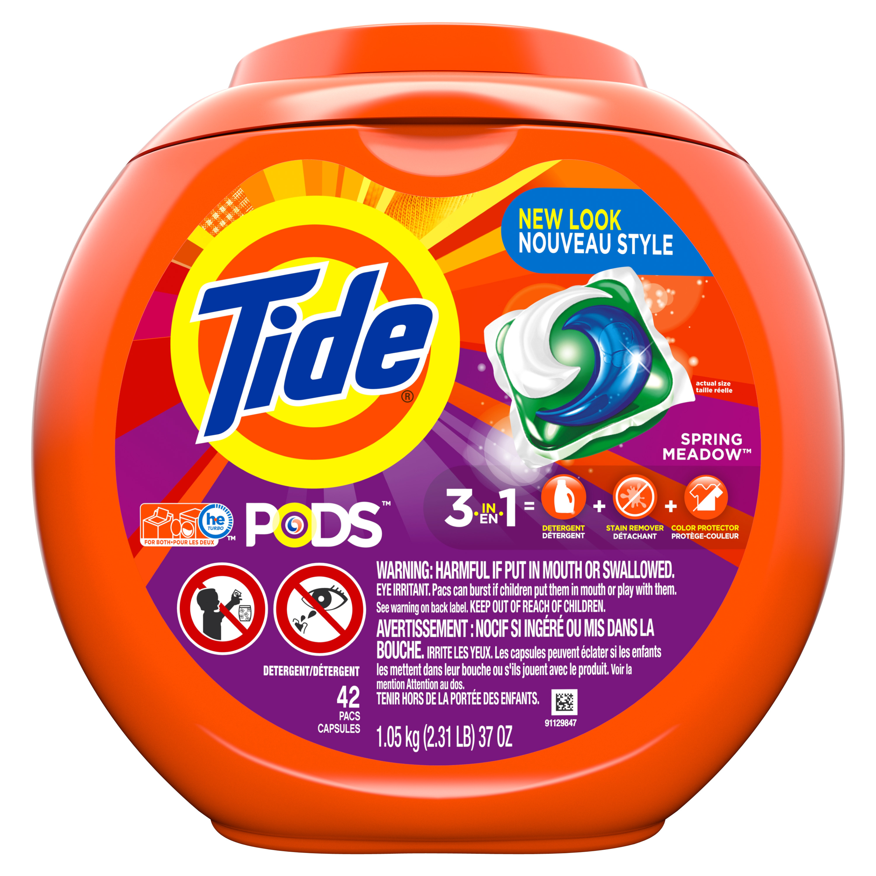 Tide PODS Spring Meadow Scent HE Turbo Laundry Detergent Pacs, 42 Count