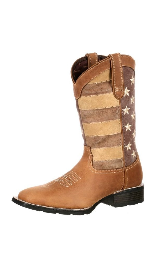 Durango Western Boots Mens Mustang Faded Glory USA Flag Brown DDB0087 by Durango